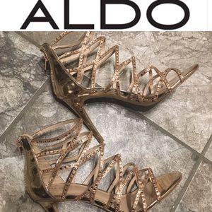 ALDO rose gold glitter gladiator heels